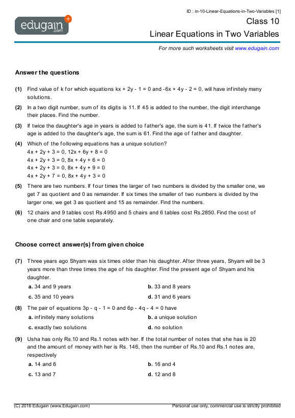 Year 10 Math Worksheets and Problems Linear Equations in Two – Year 10 Maths Worksheets