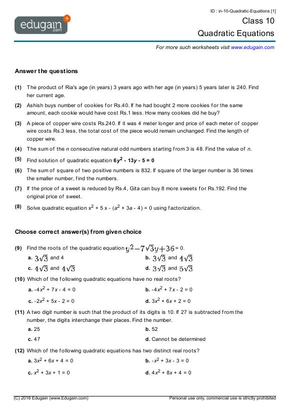 Year 10 Math Worksheets and Problems Quadratic Equations – The Quadratic Formula Worksheet