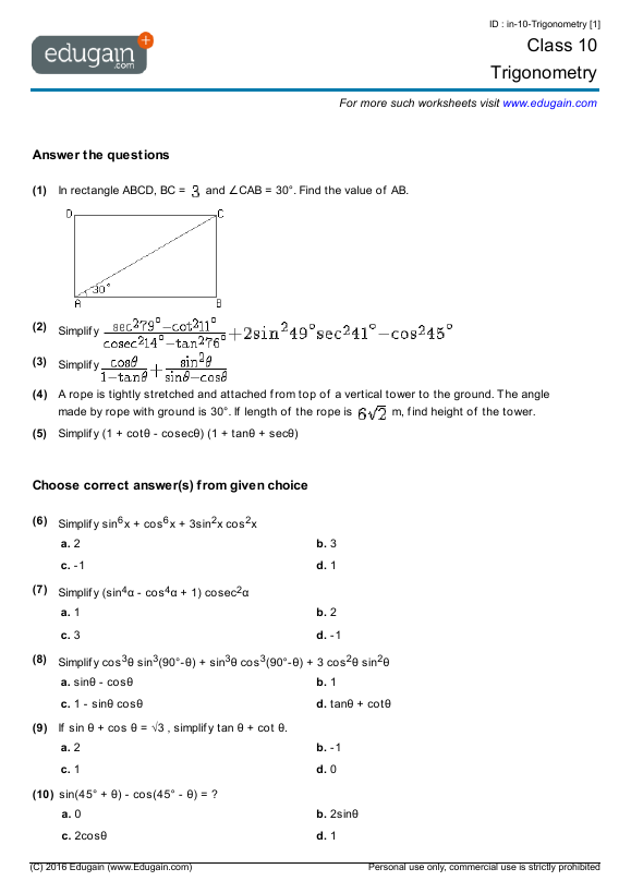 Year 10 Maths Revision Worksheets Australia | WorksheetPrintable Maths Worksheets Year 3 Australia -> More. Trigonometry