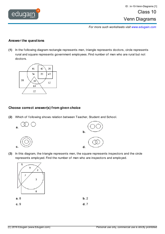 year 10 math worksheets and problems venn diagrams. Black Bedroom Furniture Sets. Home Design Ideas
