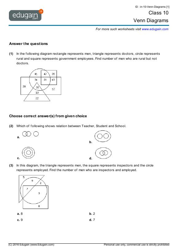 Year 10 Math Worksheets And Problems  Venn Diagrams