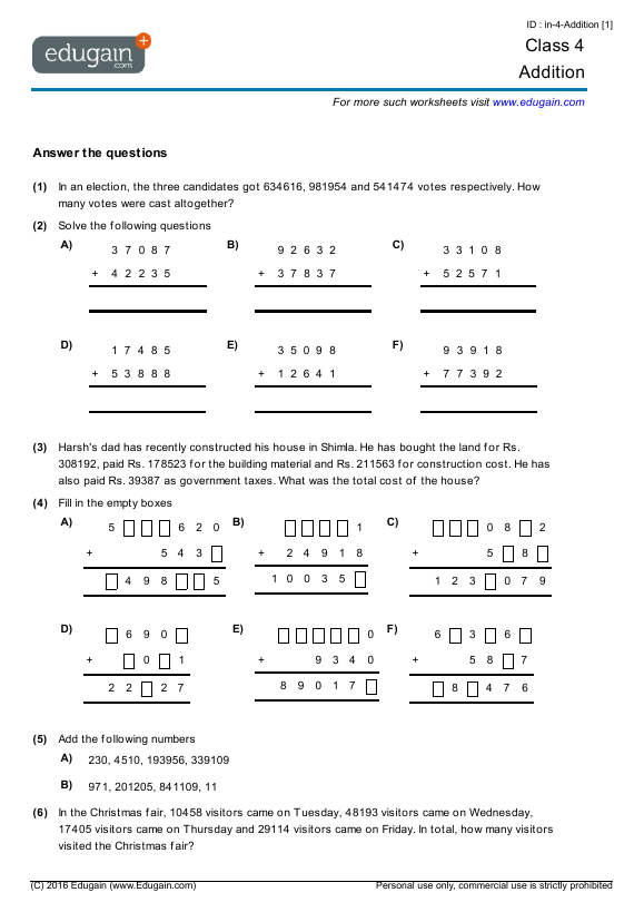 Year 4 Math Worksheets and Problems Addition – Addition Worksheets Year 4