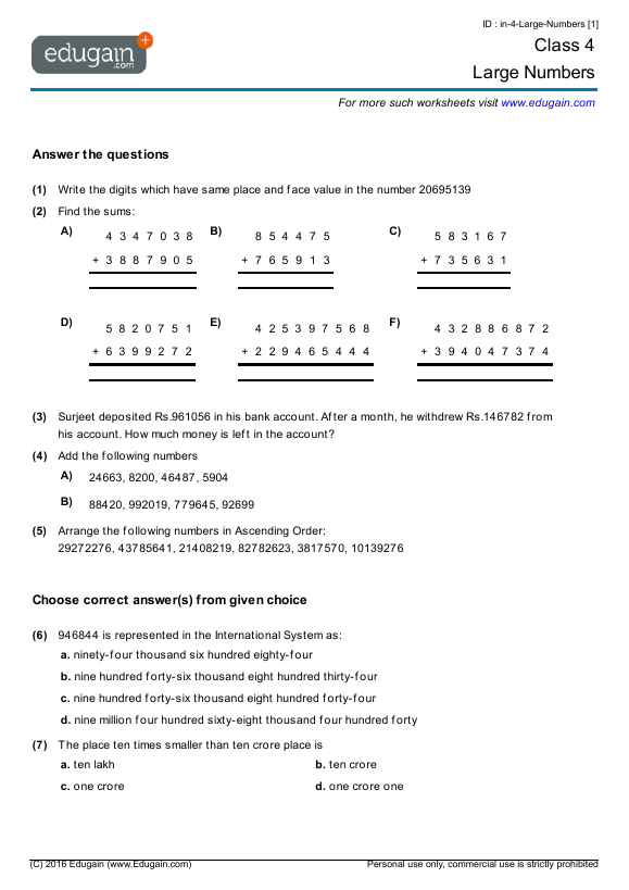 Number Names Worksheets maths worksheets for year 4 Free – Grade 3 Maths Worksheets Australia