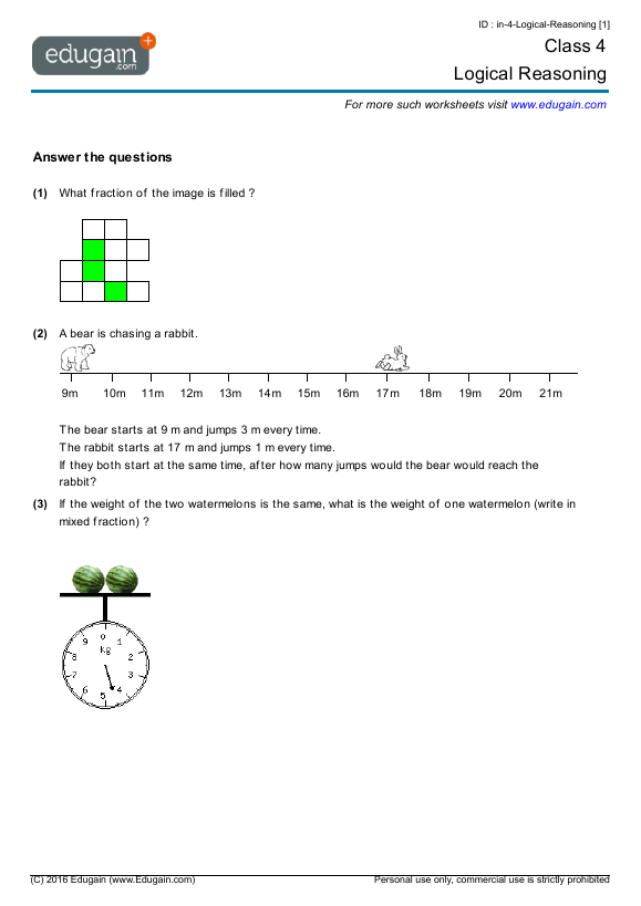 Year 4 Math Worksheets and Problems Logical Reasoning – Grade 3 Maths Worksheets Australia