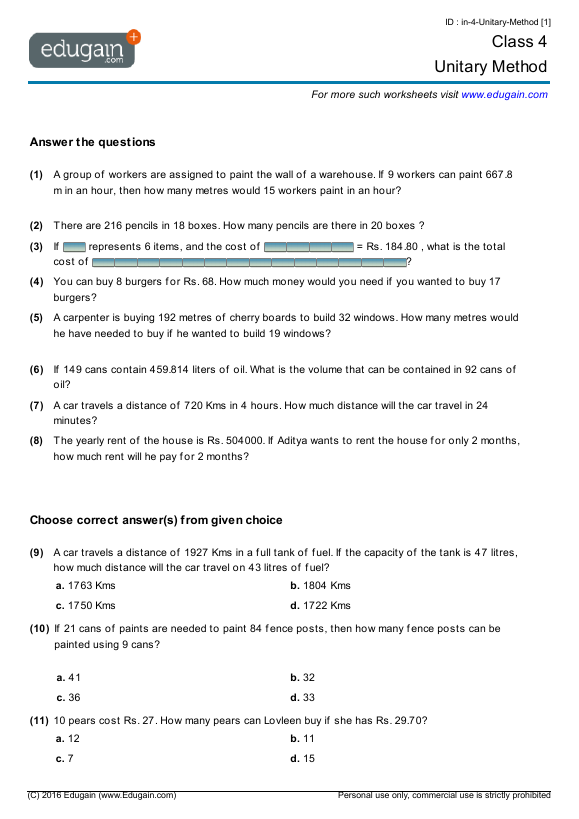 Year 4 Math Worksheets and Problems Unitary Method – Year 4 Math Worksheets