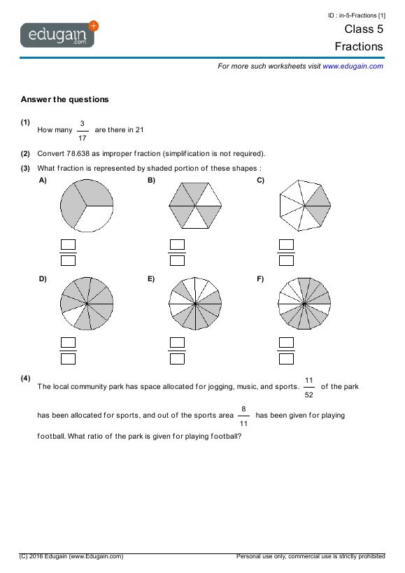 Year 5 Math Worksheets and Problems Fractions – Fractions for Year 5 Worksheets