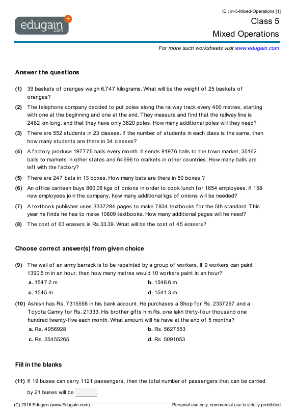 Year 5 Math Worksheets and Problems Mixed Operations – Maths for Year 9 Worksheets