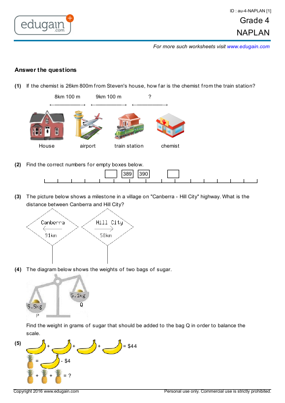 Numeracy worksheets year 5