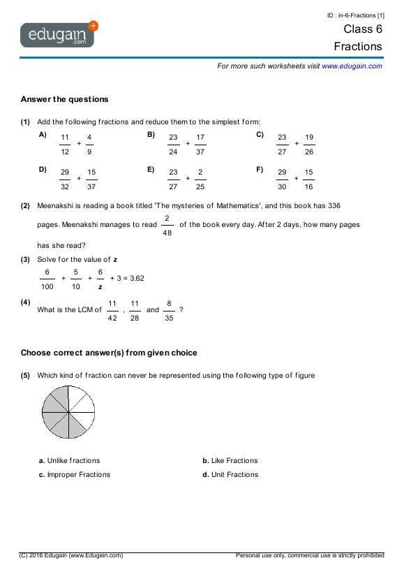 Year 6 Math Worksheets and Problems: Fractions | Edugain ...
