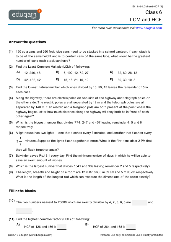 Year 6 Math Worksheets and Problems: LCM and HCF : Edugain ...