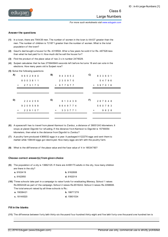Year 6 Math Worksheets and Problems Large Numbers – Year 6 Maths Worksheets Australia