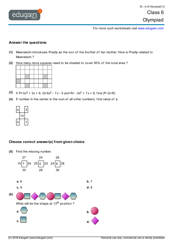 math worksheet : year 6 olympiad printable worksheets online practice online  : Year 6 Maths Worksheets Australia
