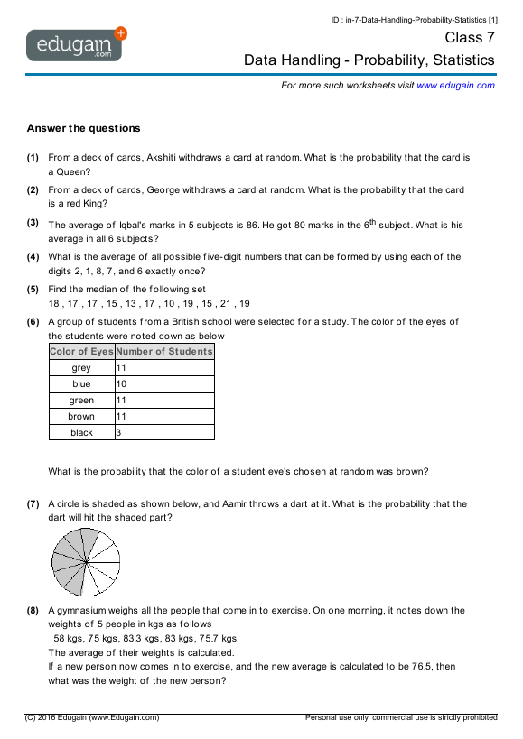 Year 7 Math Worksheets and Problems Data Handling Probability – Statistics Math Worksheets