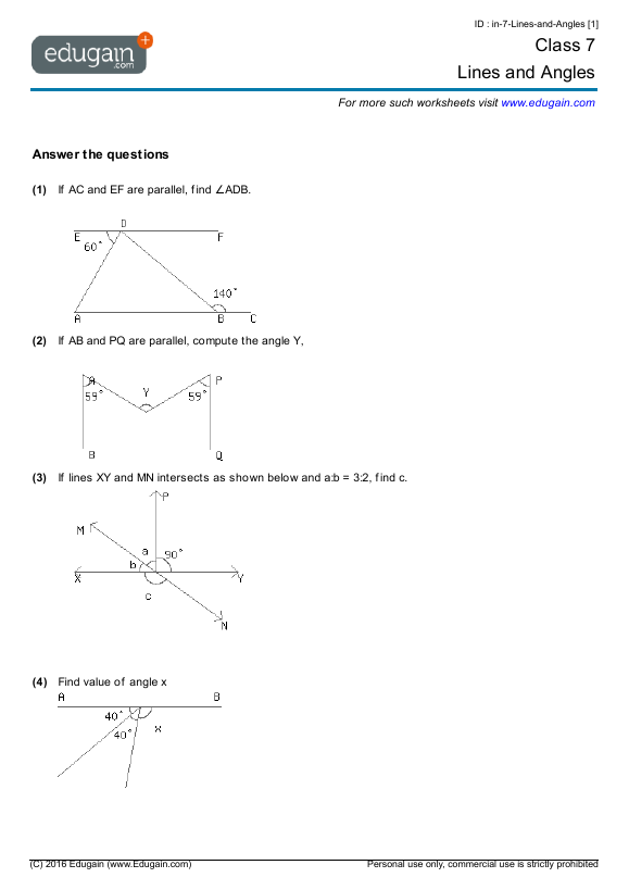 Worksheets Year Seven Math year 7 math worksheets and problems lines angles edugain contents angles