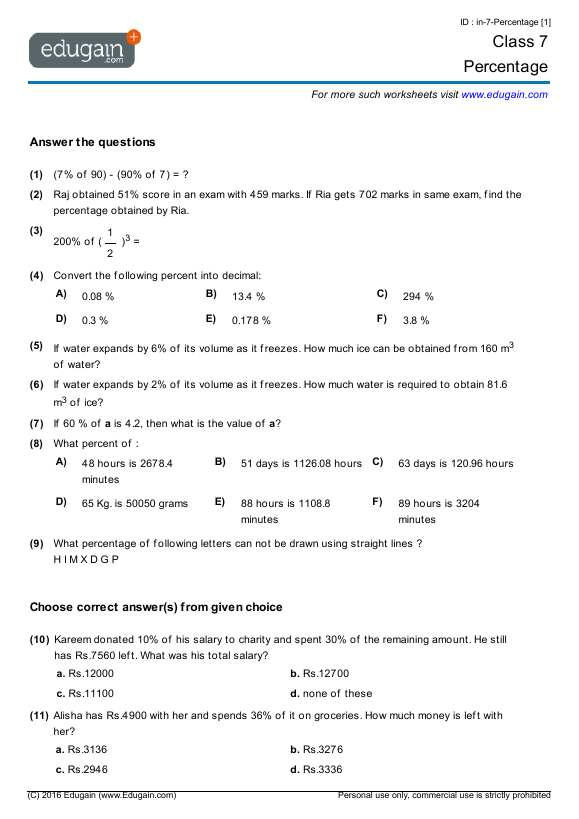 Worksheets Year Seven Math year 7 math worksheets and problems percentage edugain australia contents percentage