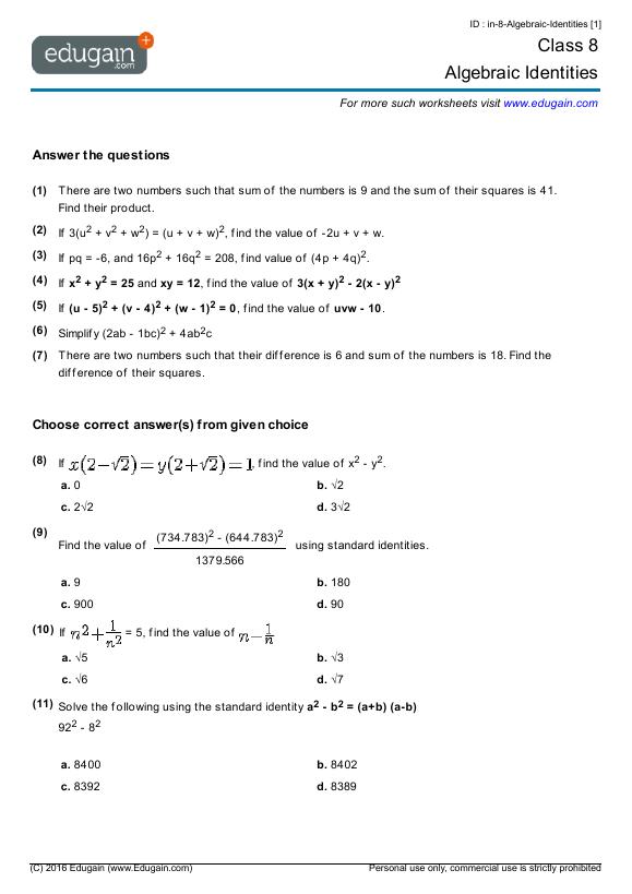 math worksheet : australian maths worksheets year 8  educational math activities : Maths Year 8 Worksheets