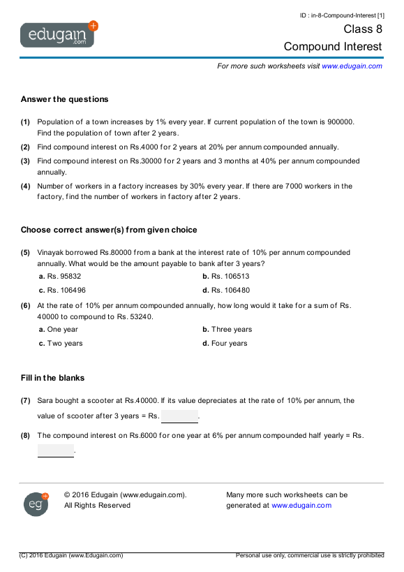Year 8 Math Worksheets and Problems Compound Interest – Year 8 Math Worksheets