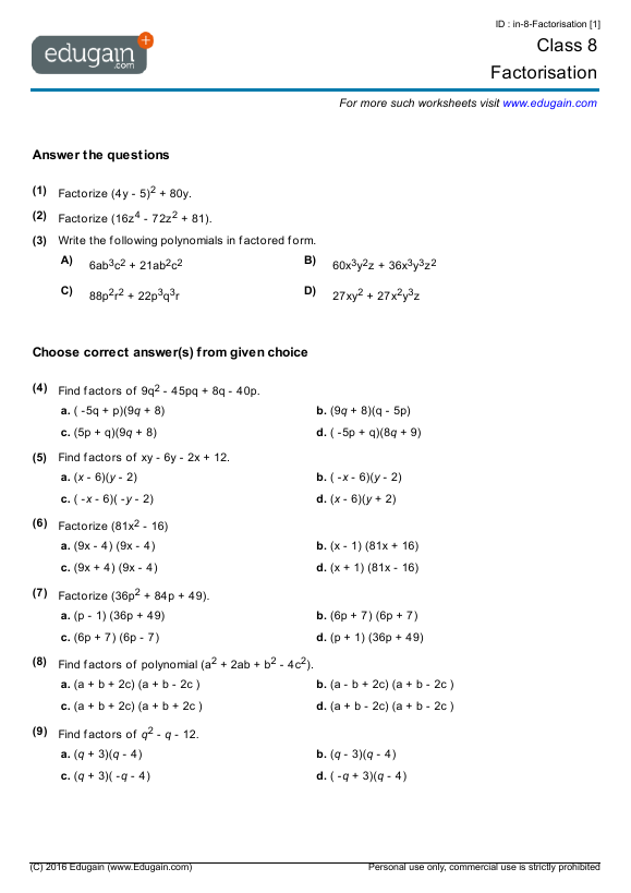 Year 8 Math Worksheets and Problems Factorisation – Australia Worksheets