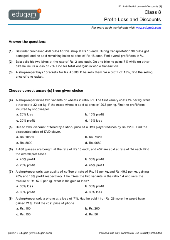 math worksheet : year 8 math worksheets and problems profit loss and discounts  : Maths Year 8 Worksheets