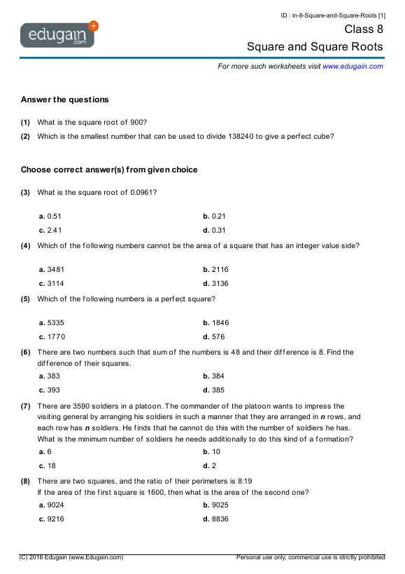 math worksheet : year 8 math worksheets and problems square and square roots  : Year 8 Math Worksheets