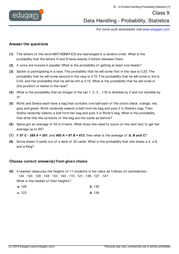 Year 9 Math Worksheets and Problems Data Handling Probability – Probability and Statistics Worksheets