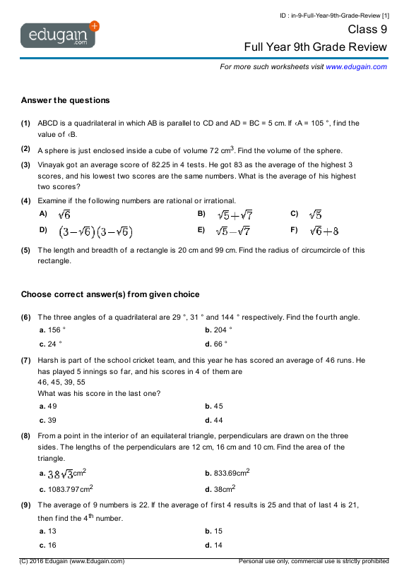 year 9 math worksheets and problems full year 9th grade review edugain australia. Black Bedroom Furniture Sets. Home Design Ideas
