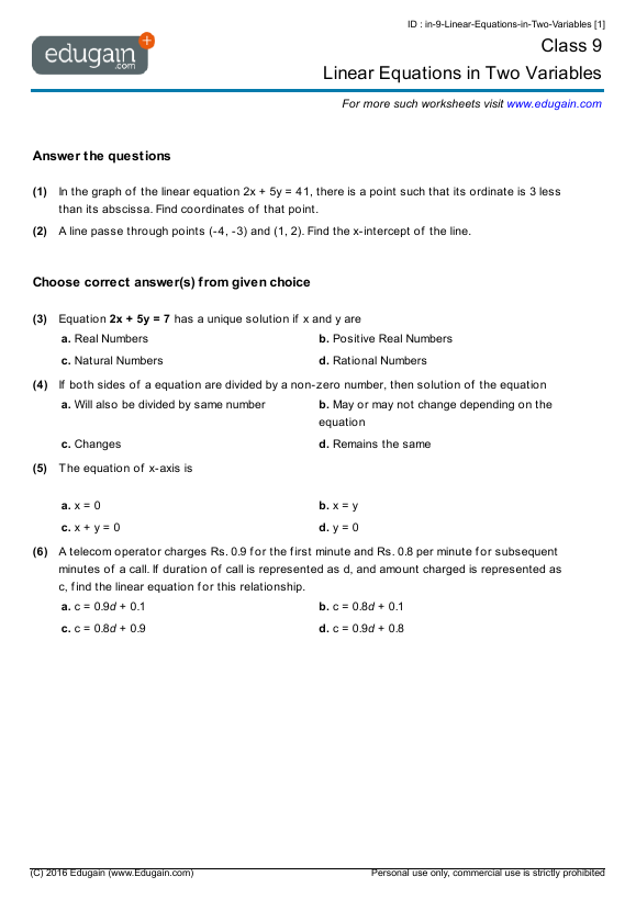 year 9 math worksheets and problems linear equations in two variables edugain australia. Black Bedroom Furniture Sets. Home Design Ideas