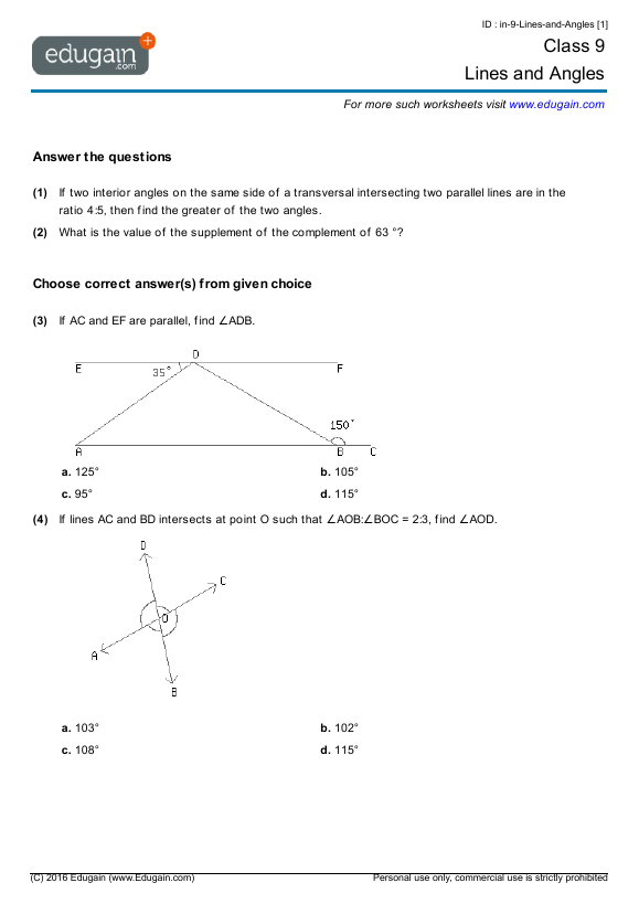 Year 9 Math Worksheets and Problems: Lines and Angles | Edugain ...