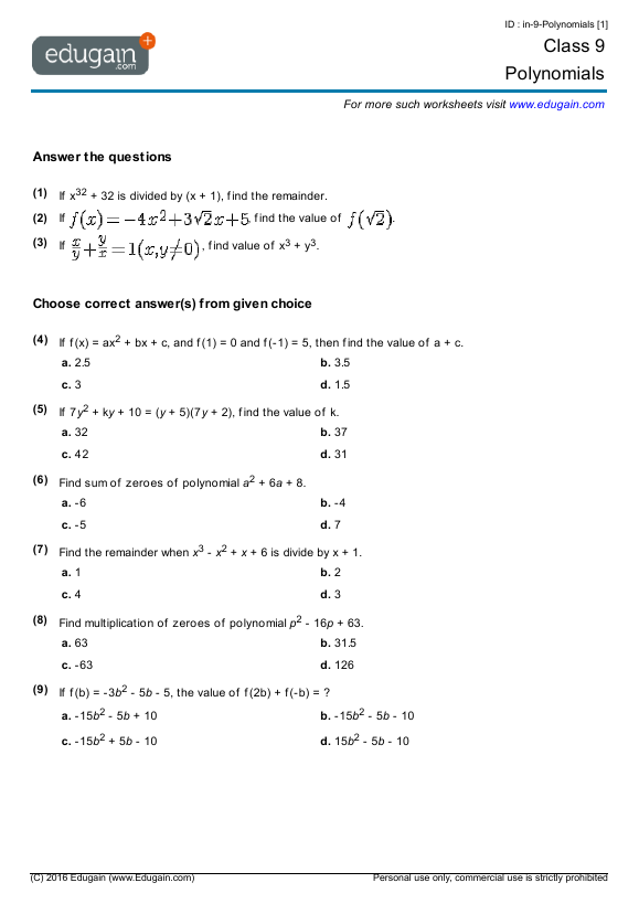 Year 9 Math Worksheets and Problems Polynomials – Maths Worksheets for Year 9
